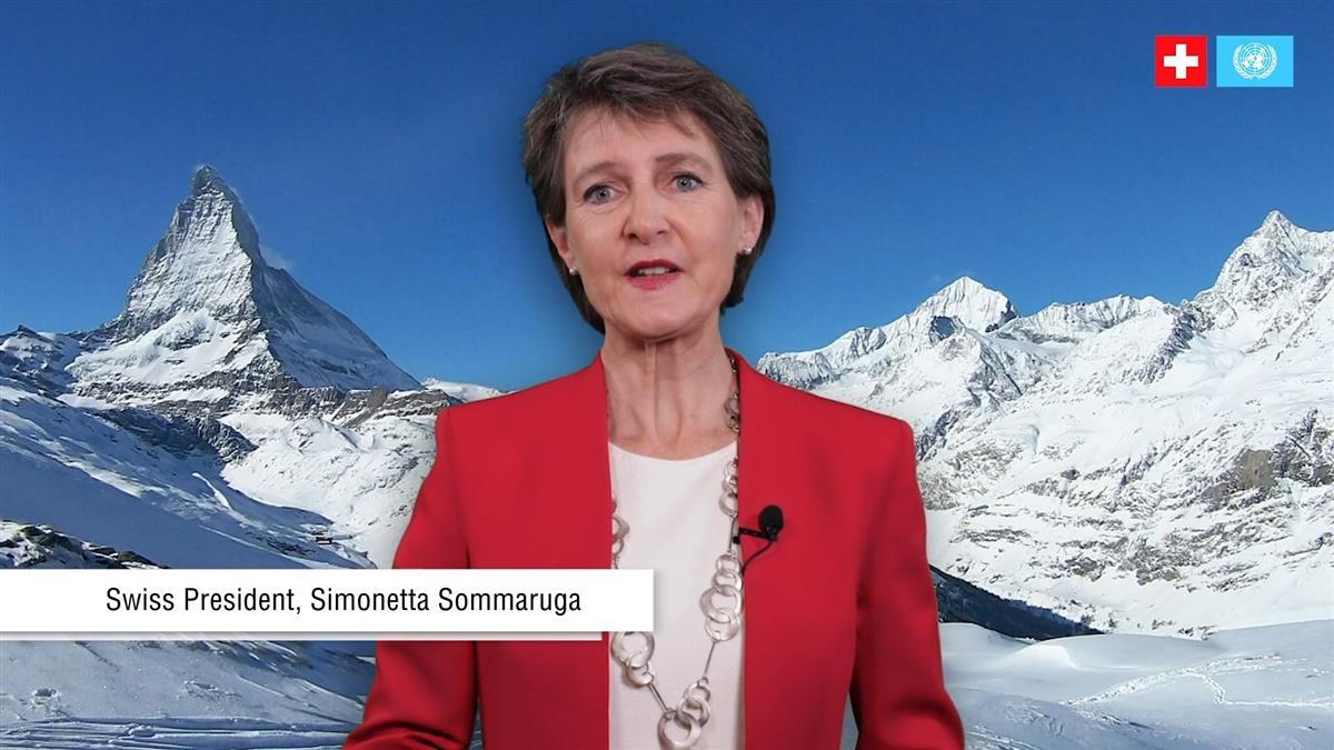 昨年10月、オンラインで開かれた国連イベントにビデオ出演し、安全保障理事会入りへの支持を訴えるスイスのソマルーガ大統領(当時、スイス政府のホームページから)
