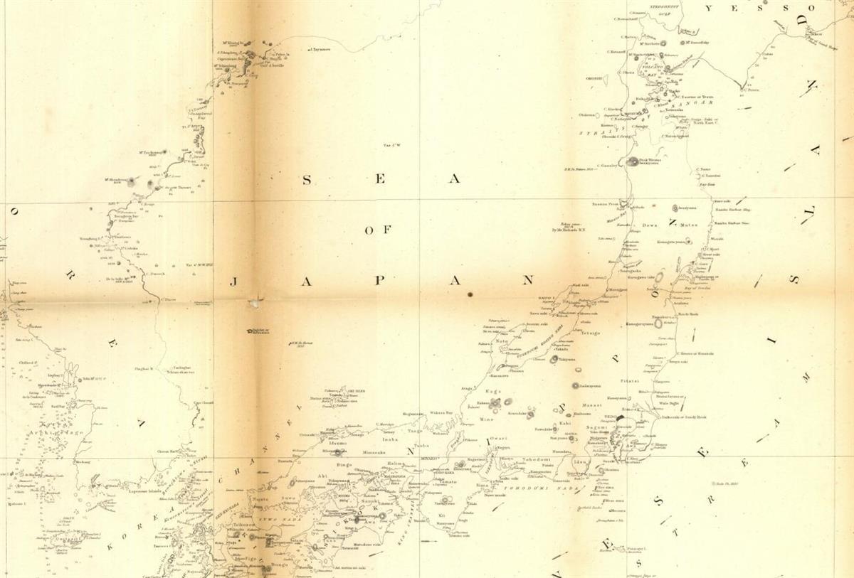 1856年刊行の「ペリー提督日本遠征記」の付図。「SEA OF JAPAN」の表記がある(舩杉力修准教授提供)